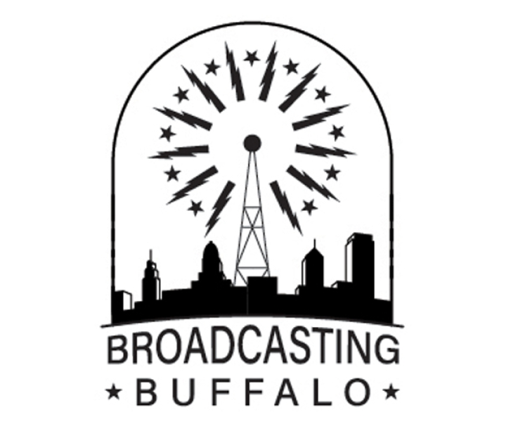 Broadcasting Buffalo logo illustration showing radio tower giving off signal over city skyline