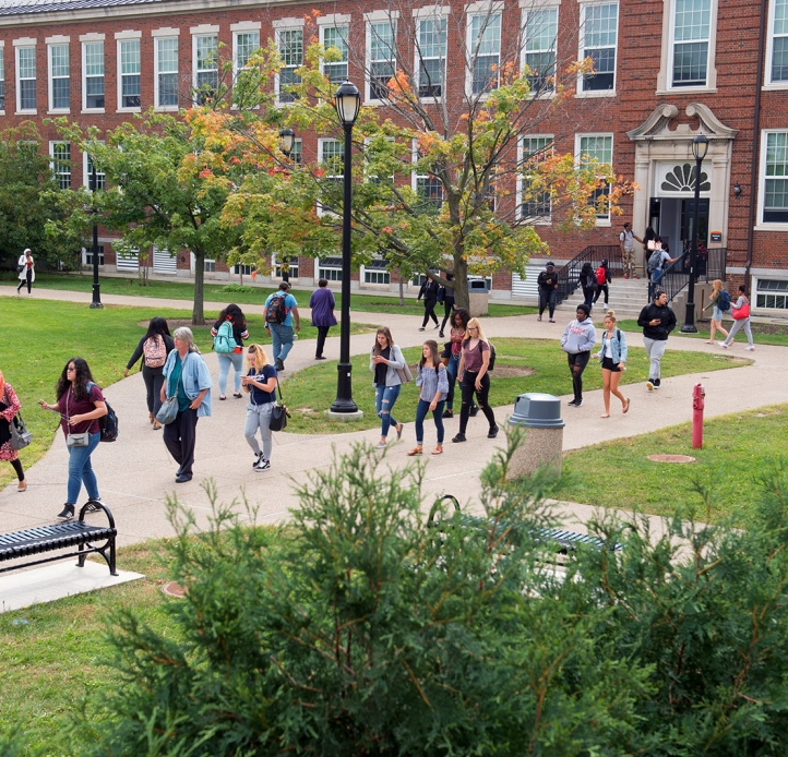 Students walking in the Hank Mann Quad