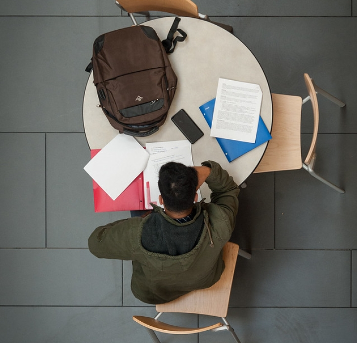 Student studying at table