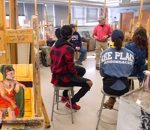 Students and faculty in painting class
