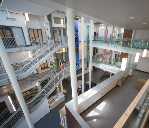 interior view of the Science and Mathematics Complex construction
