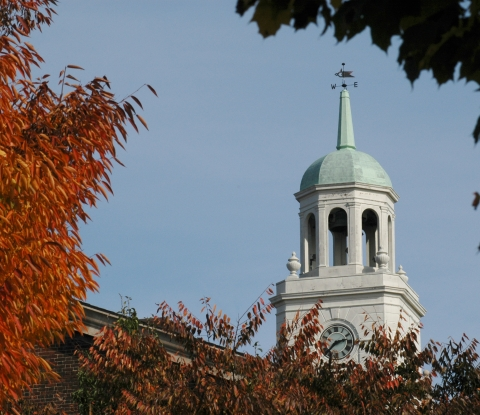 Rockwell bell tower with autumn leaves
