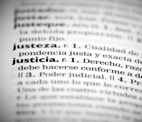 "Entries in a Spanish dictionary showing the word ""justicia."""