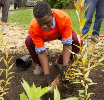 Student planting in a community garden