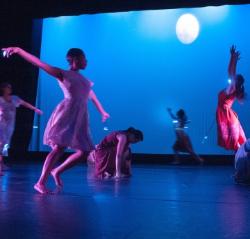 Students dance performance on stage