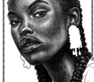 Pencil drawing of young woman