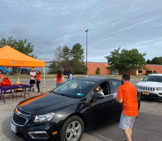 Cars lined up for the Drive-Through event