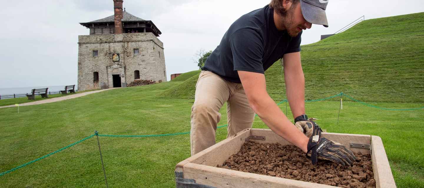 Student working at the Fort Niagara Field School
