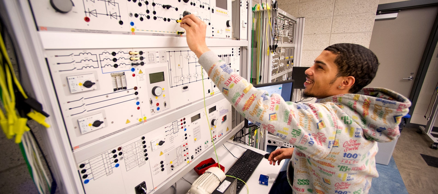Student in Smart Grid Lab