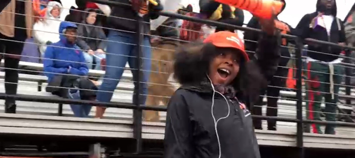 Berthlyne Francois cheering at Coyer Field