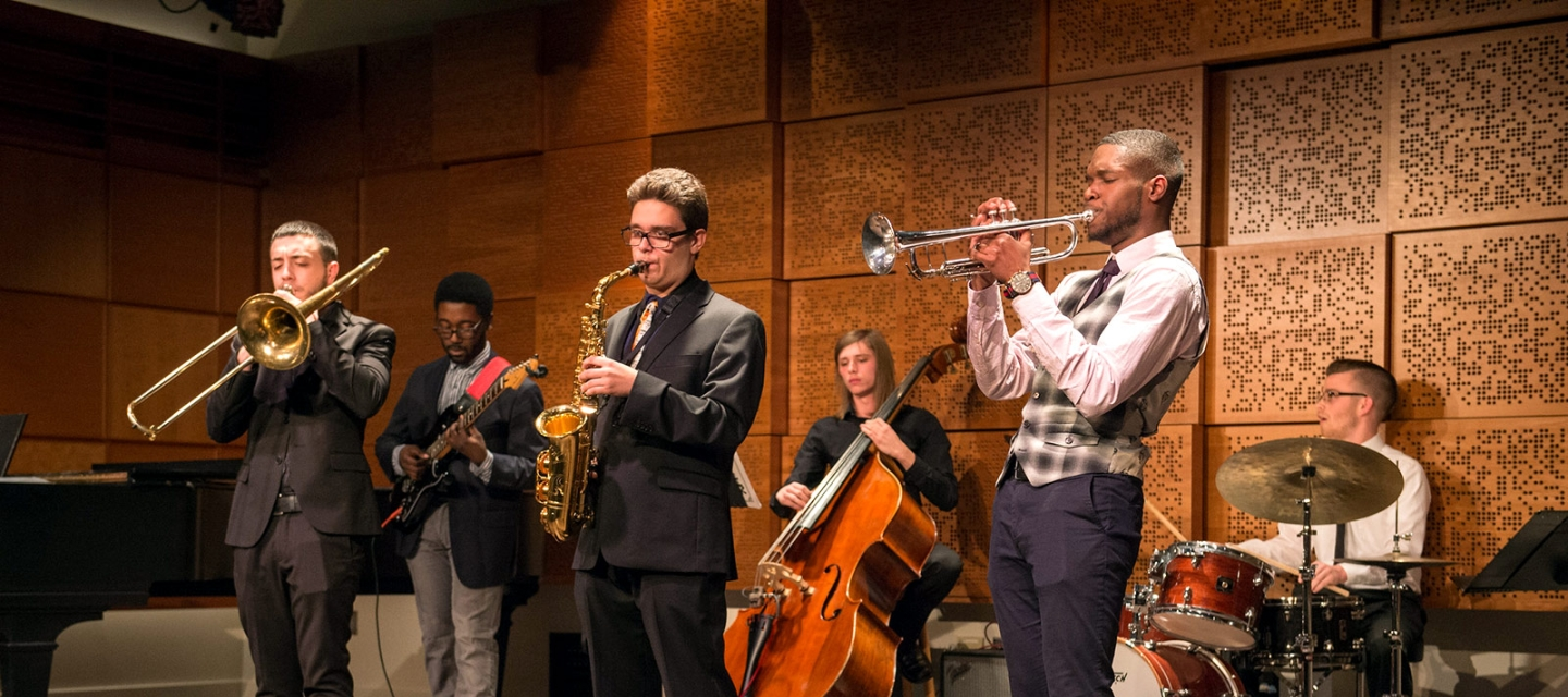 Student jazz group in Ciminelli Recital Hall