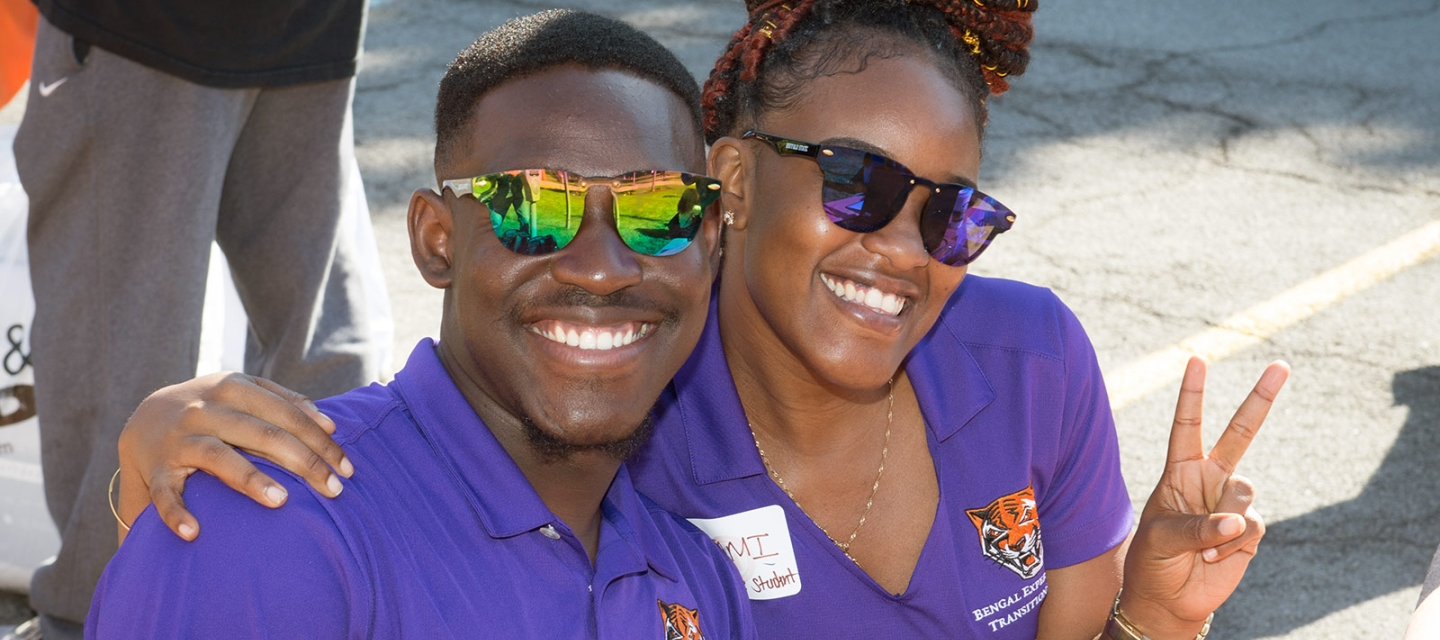 Orientation leaders in purple shirts
