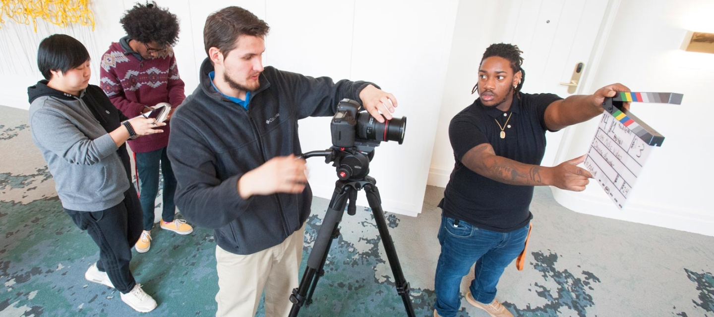 Media production students preparing for a shoot