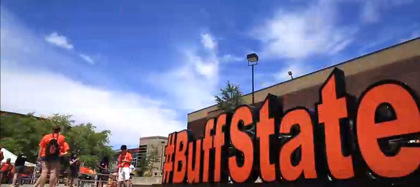 Students in the quad with the #BuffState sign