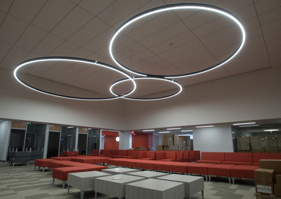 Couches and lighting in Academic Commons