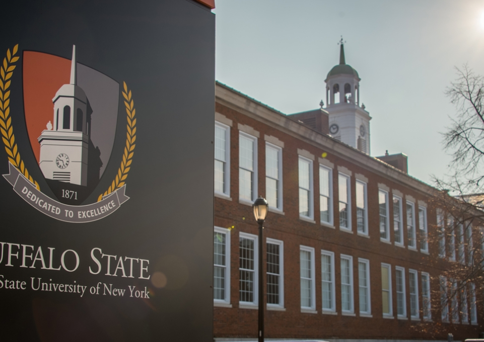 Rockwell Hall with Buffalo State logo