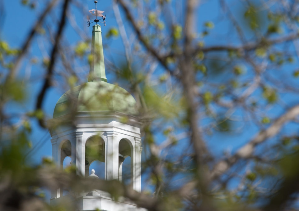 Rockwell Hall bell tower through the trees