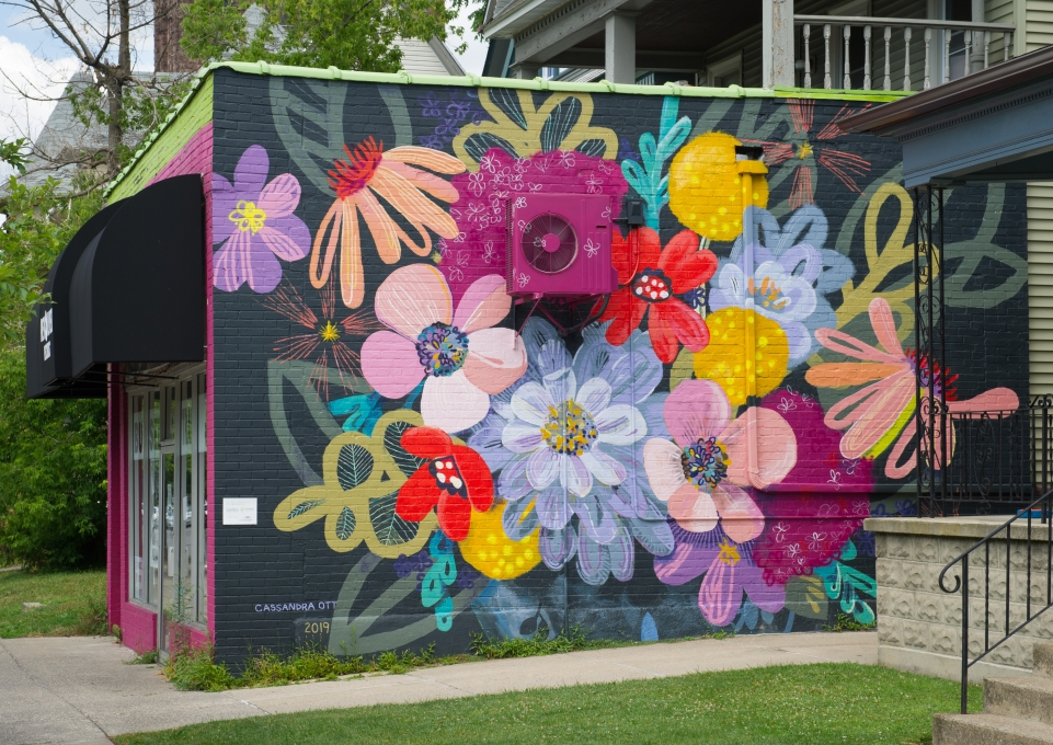 Floral mural on side of builidng in Elmwood Village